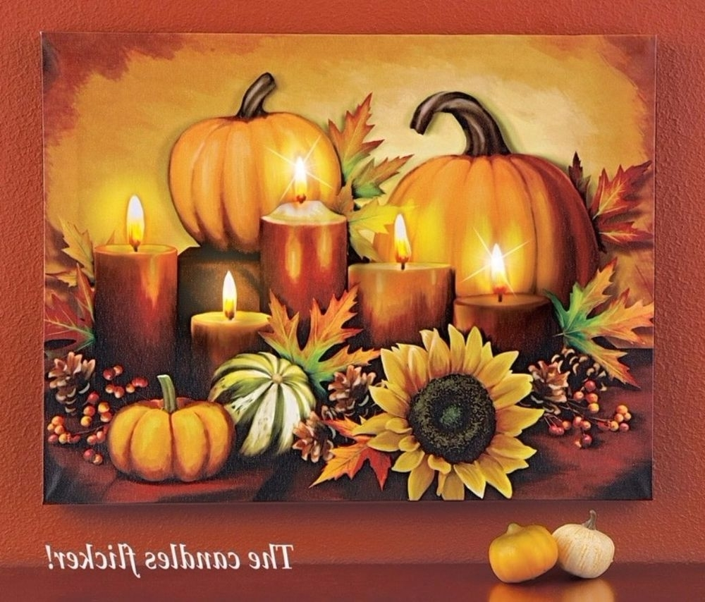 Well Known Halloween Led Canvas Wall Art Pertaining To Led Lighted Autumn Fall Pumpkin Harvest Halloween Thanksgiving (View 12 of 15)