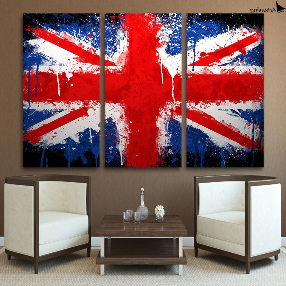 Well Known Hd 3 Piece Canvas Wall Art Printed Union Jack Uk Flag Painting With Union Jack Canvas Wall Art (View 14 of 15)