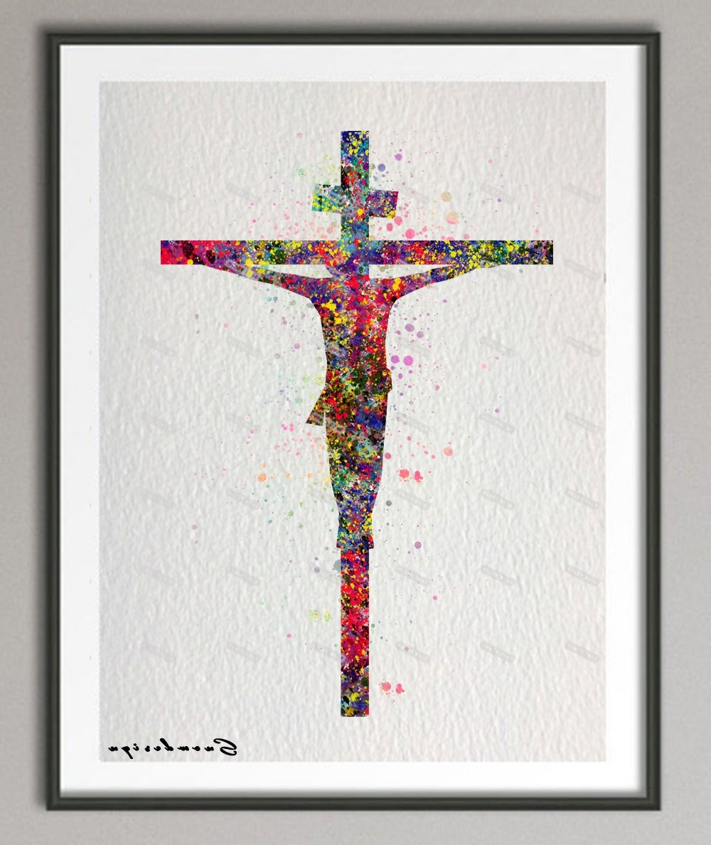 Well Known Jesus Canvas Wall Art Within Diy Original Watercolor Jesus On The Cross Canvas Painting Pop (View 14 of 15)