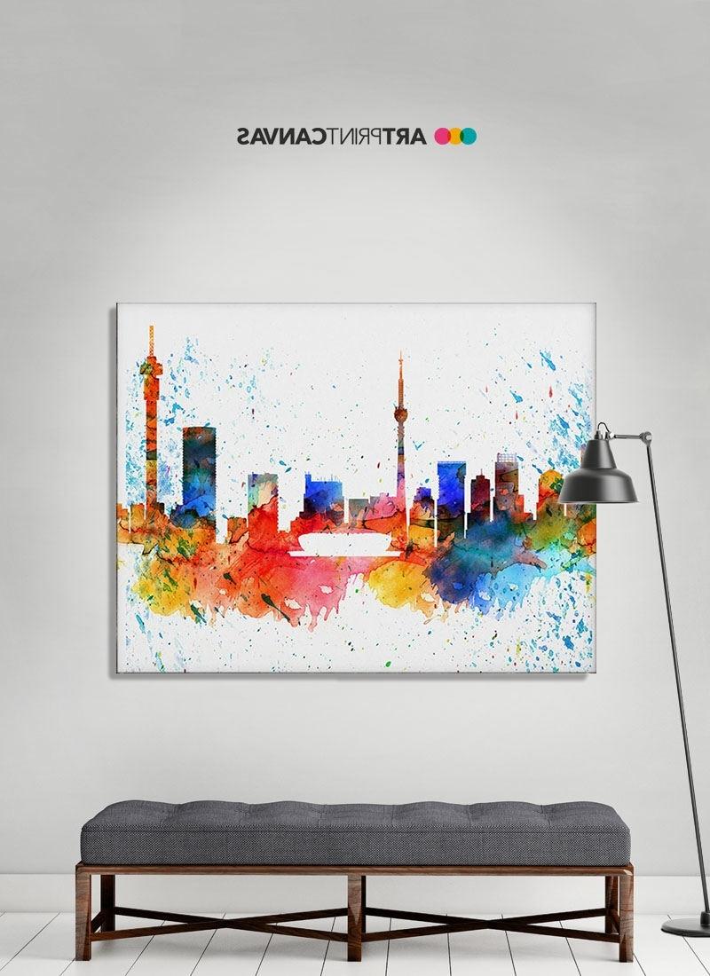 Well Known Johannesburg Canvas Print Johannesburg Watercolor Skyline Regarding Johannesburg Canvas Wall Art (View 14 of 15)