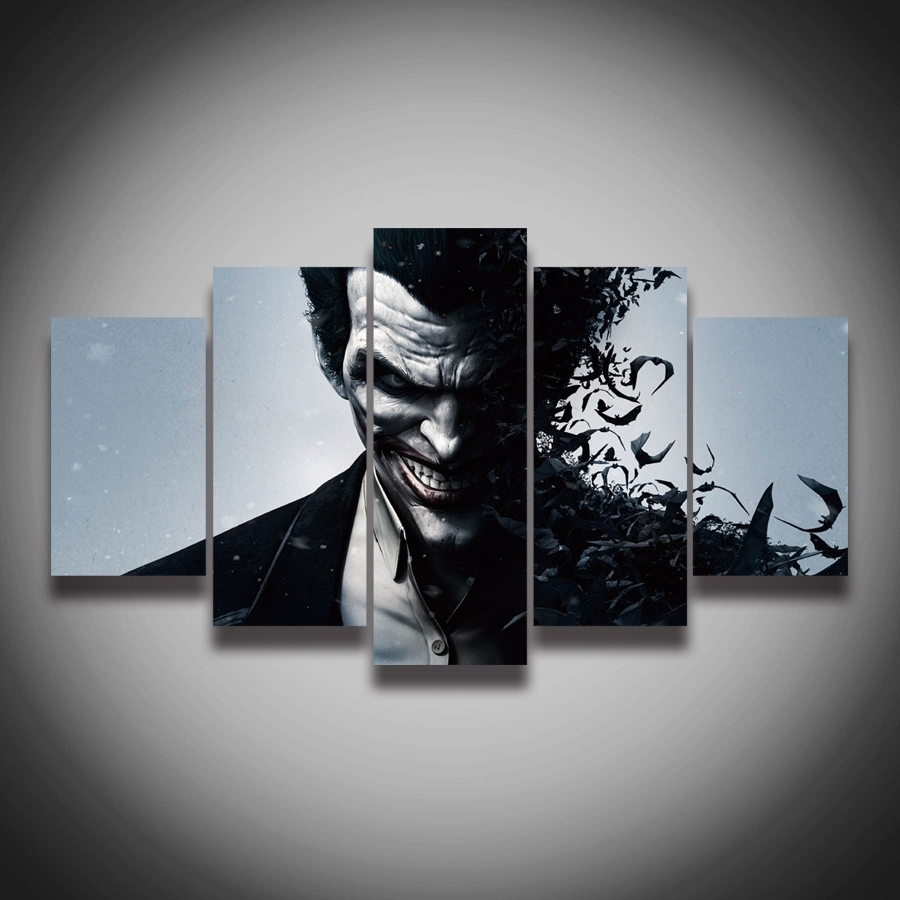 Well Known Joker Canvas Wall Art Inside Cheap 5 Panel Hd Printed Oil Painting Animation Joker Poster (View 13 of 15)