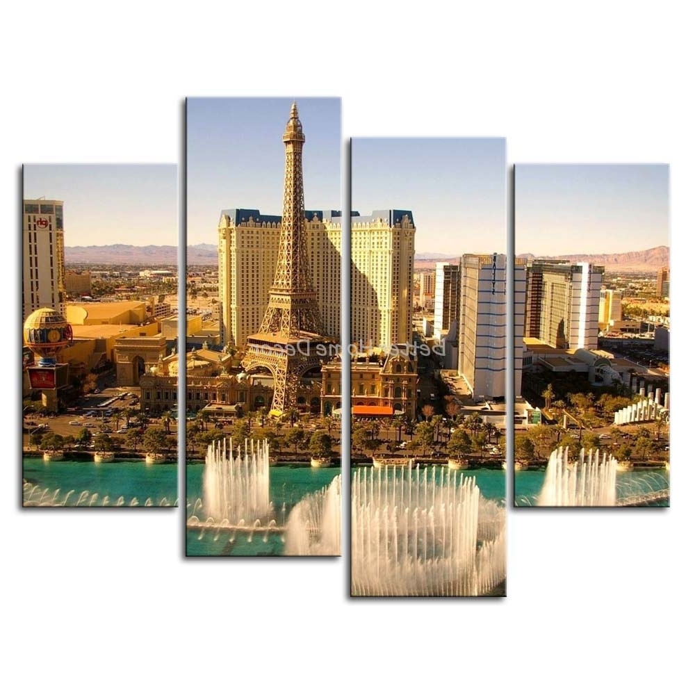 Well Known Las Vegas Canvas Wall Art Pertaining To Unframed 4 Piece Wall Art Painting Las Vegas High Tower With Water (View 13 of 15)