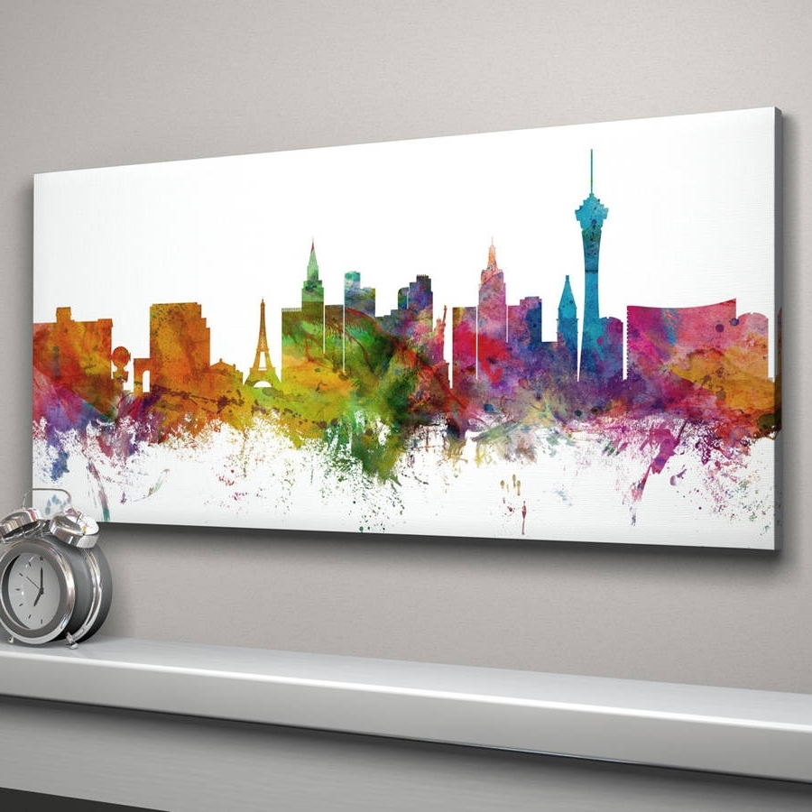 Well Known Las Vegas Skyline Cityscape Art Printartpause Pertaining To Las Vegas Canvas Wall Art (View 14 of 15)