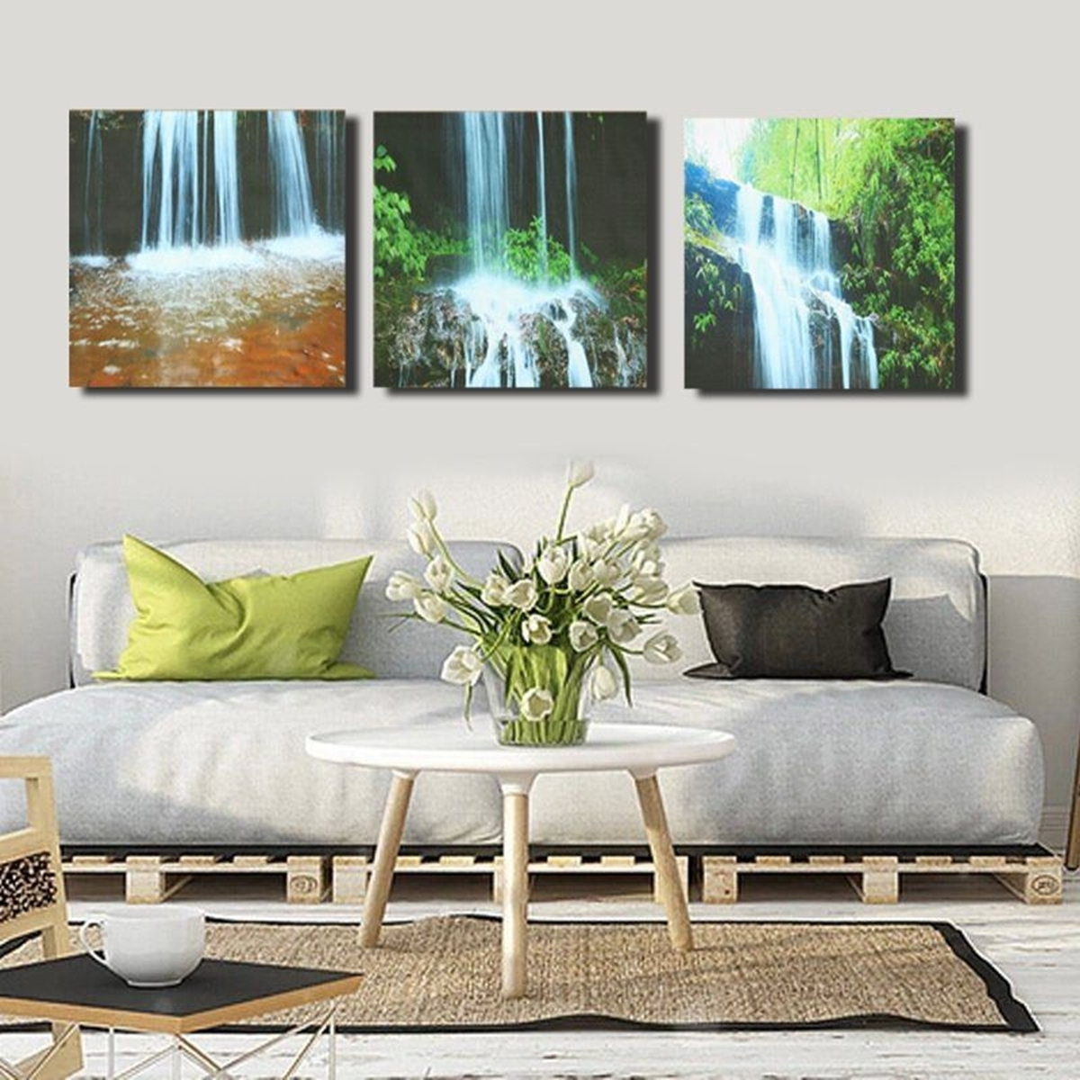 Well Known Living Room Canvas Wall Art Inside 3 Cascade Large Waterfall Framed Print Painting Canvas Wall Art (View 14 of 15)