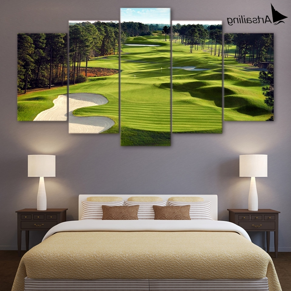 Well Known Living Room Canvas Wall Art Inside Canvas Paintings Printed 5 Pieces Golf Course Wall Art Canvas (View 15 of 15)