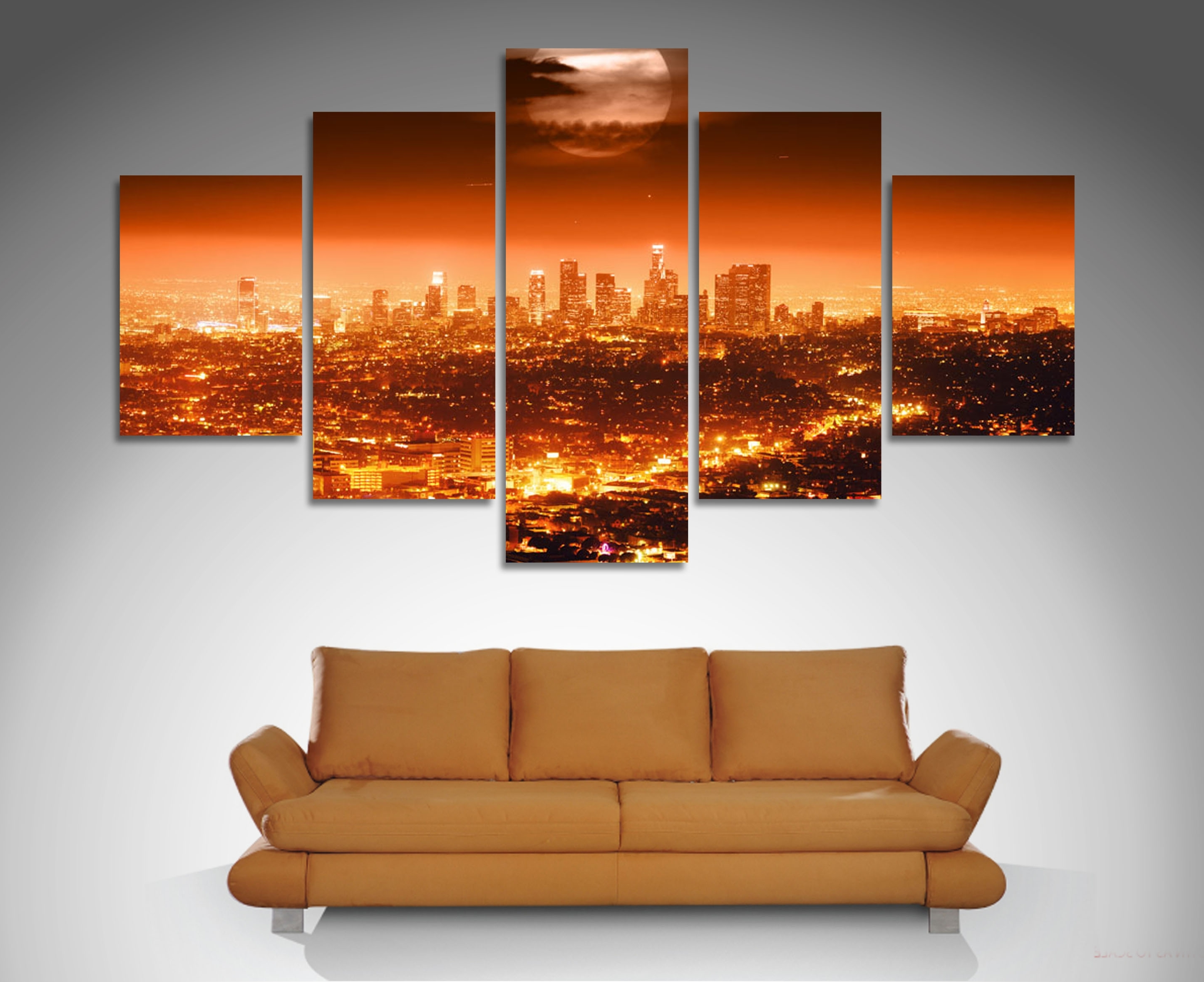 Well Known Los Angeles 5 Panel Diamond Shape Canvas Prints Http://www Inside Wall Art Fabric Prints (View 15 of 15)