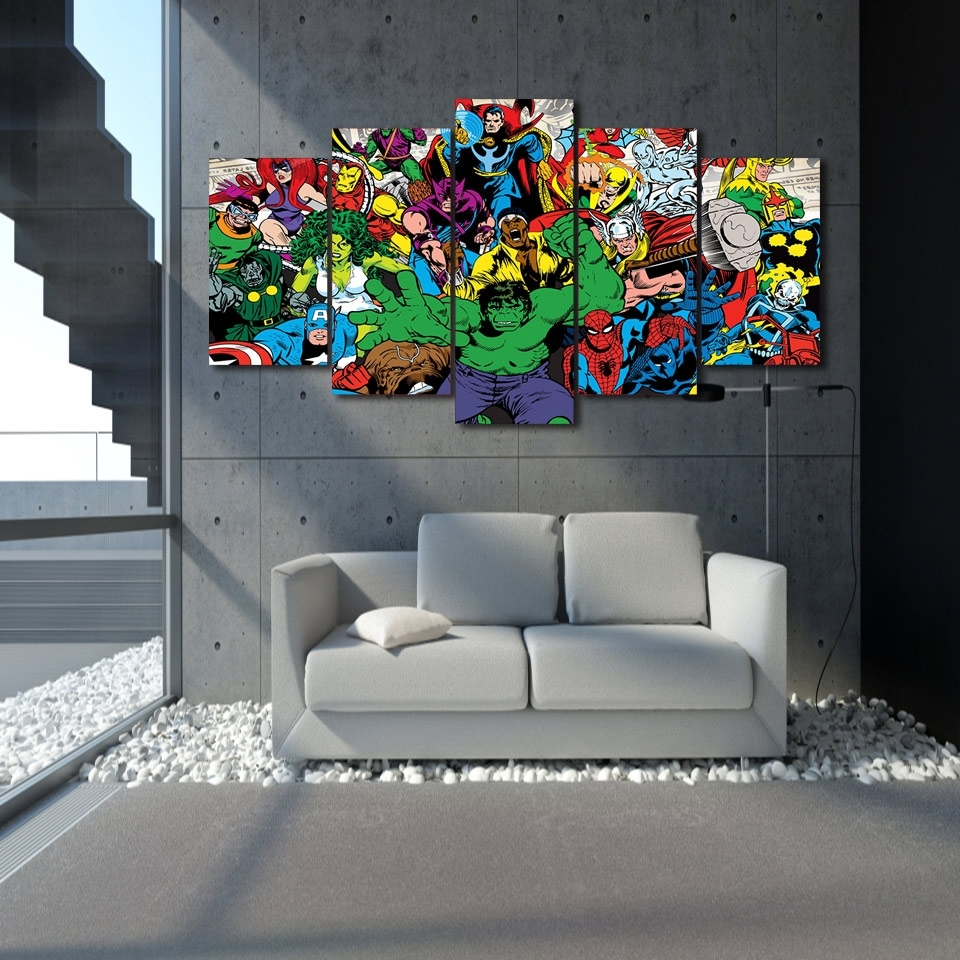 Well Known Marvel Canvas Wall Art Intended For 5 Pieces Canvas Prints Marvel Avengers Hulk Spider Man Painting (View 14 of 15)