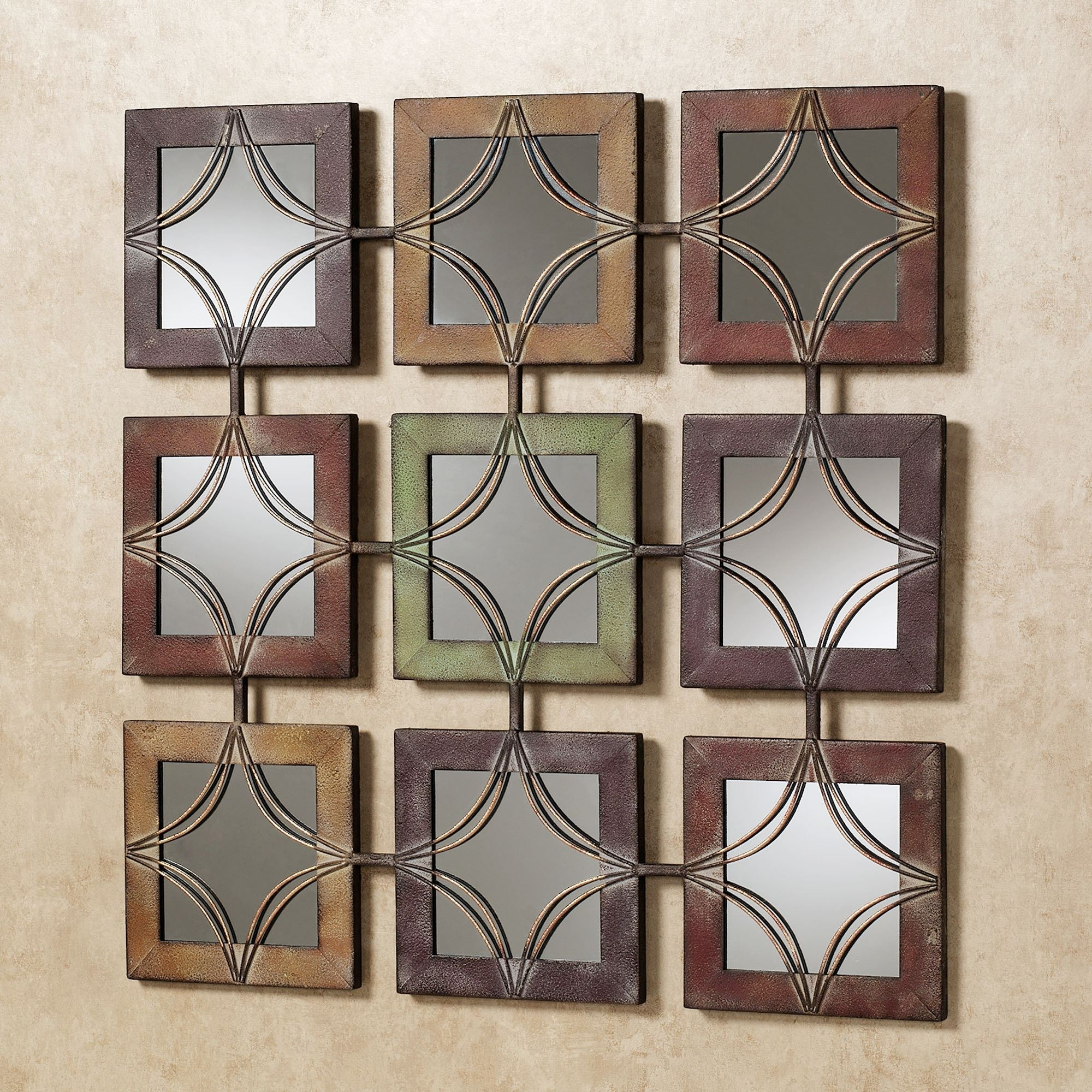 Well Known Metal Wall Accents Pertaining To Domini Mirrored Metal Wall Art (View 4 of 15)