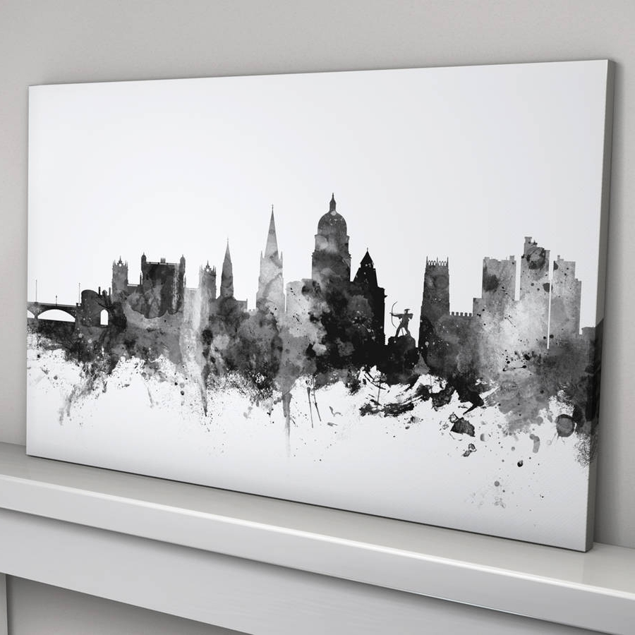 Well Known Nottingham Canvas Wall Art Inside Nottingham Skyline Cityscape Black And Whiteartpause (View 13 of 15)