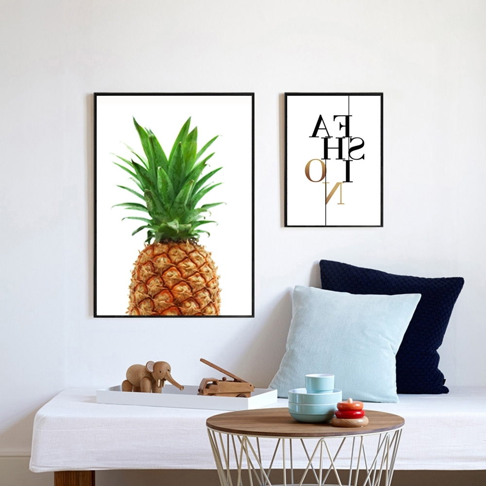 Well Known Pineapple Print Fabric, Pineapple Wall Art, Pineapple Poster In Large Print Fabric Wall Art (View 15 of 15)