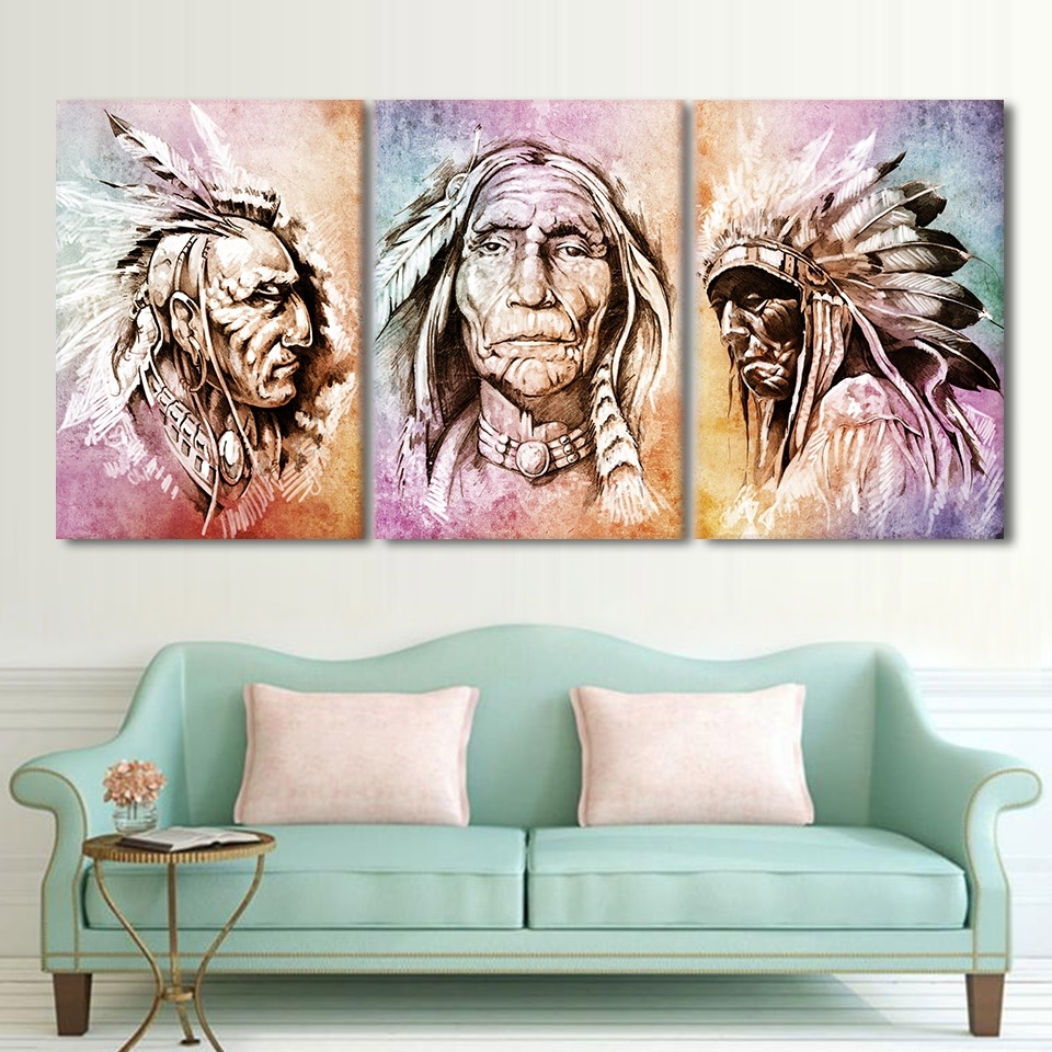 Well Known Portrait Canvas Wall Art Inside Modern Hd Printed Wall Art Frame Canvas Pictures 3 Pieces American (View 10 of 15)