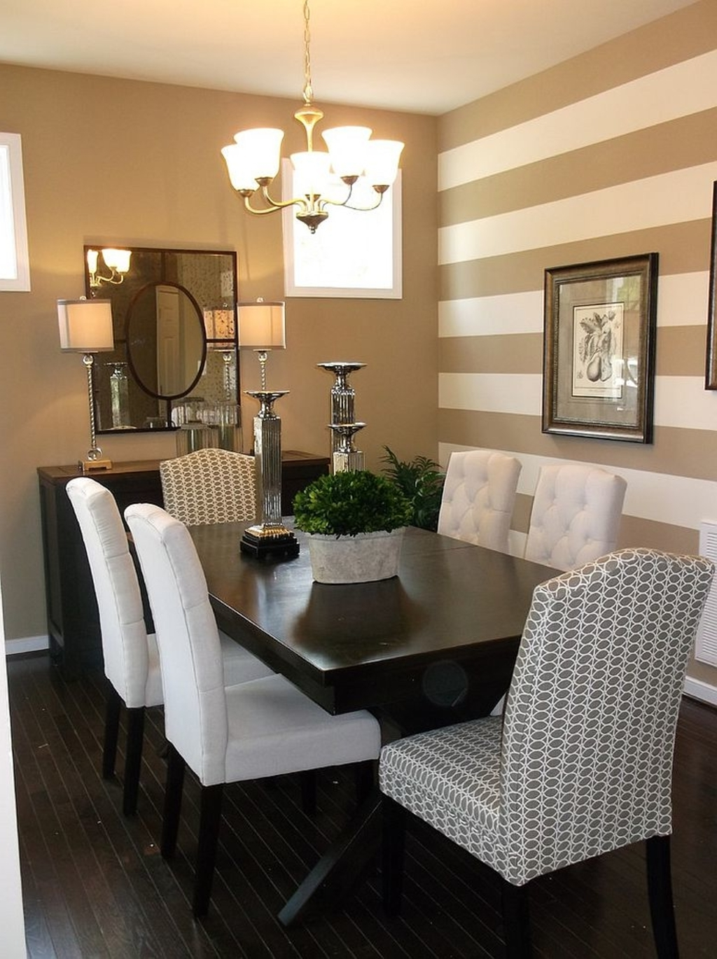 Well Known Stripe Wall Accents Within Design Ideas: Traditional Dining Room With A Striped Accent Wall (Gallery 4 of 15)