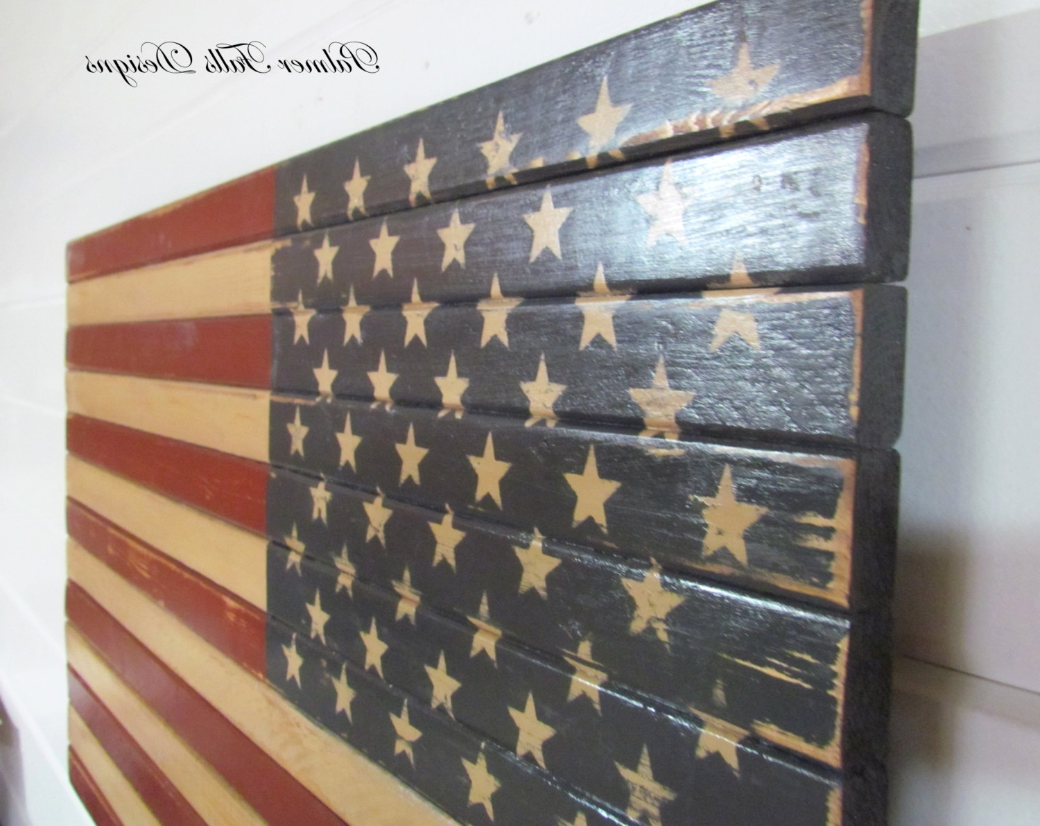 Well Known Traditional Wood American Flag / Patriotic Decor / Flag Wall  Inside American Flag Fabric