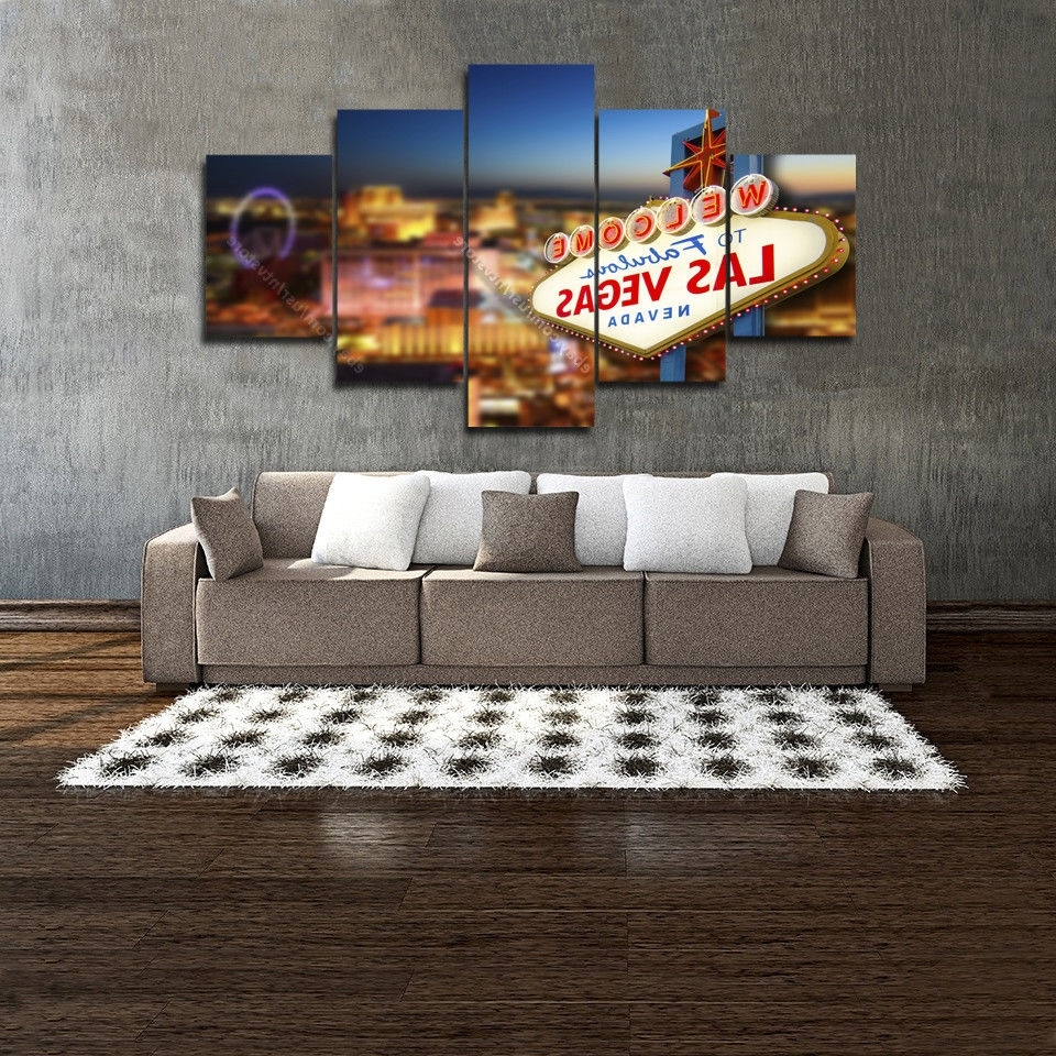 Well Known Welcome To Las Vegas Sign Wall Art Print Canvas 5 Piece Casino In Las Vegas Canvas Wall Art (View 15 of 15)