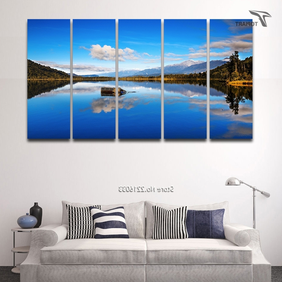 Well Liked 5 Panel Canvas Wall Art Blue Lake View New Zealand Scenery Large Intended For New Zealand Canvas Wall Art (View 15 of 15)