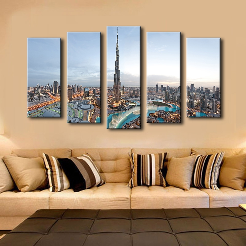 Well Liked 5pcs Khalifa Tower Dubai Best Hotels Wall Painting For Home Decor Pertaining To Dubai Canvas Wall Art (View 15 of 15)
