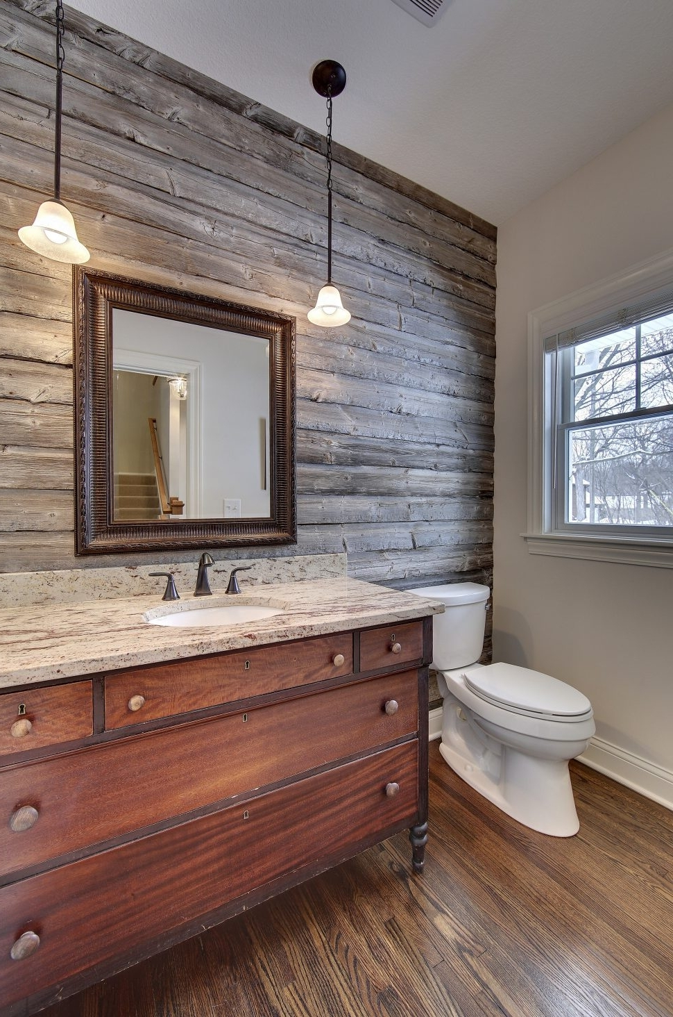 Well Liked Antique Wall Accents For Interior Design : Powder Room With Barn Wood Accent Wall Vanity (View 7 of 15)