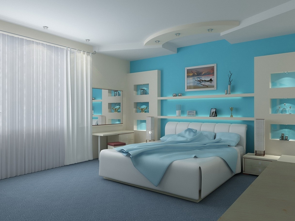 Well Liked Bedroom Design: Purple Accent Wall Accent Wallpaper Ideas Making A Regarding Light Blue Wall Accents (View 14 of 15)
