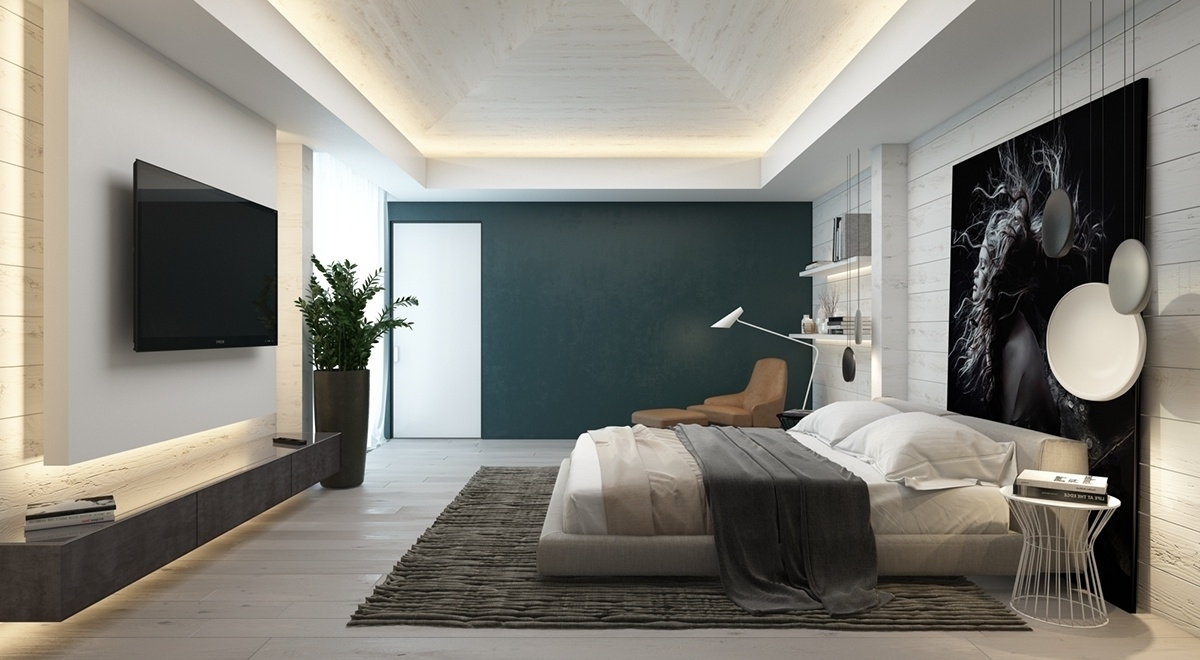 Well Liked Bedroom Design: Wood Focal Wall Feature Wall Colours Green Accent In Gray Wall Accents (View 9 of 15)