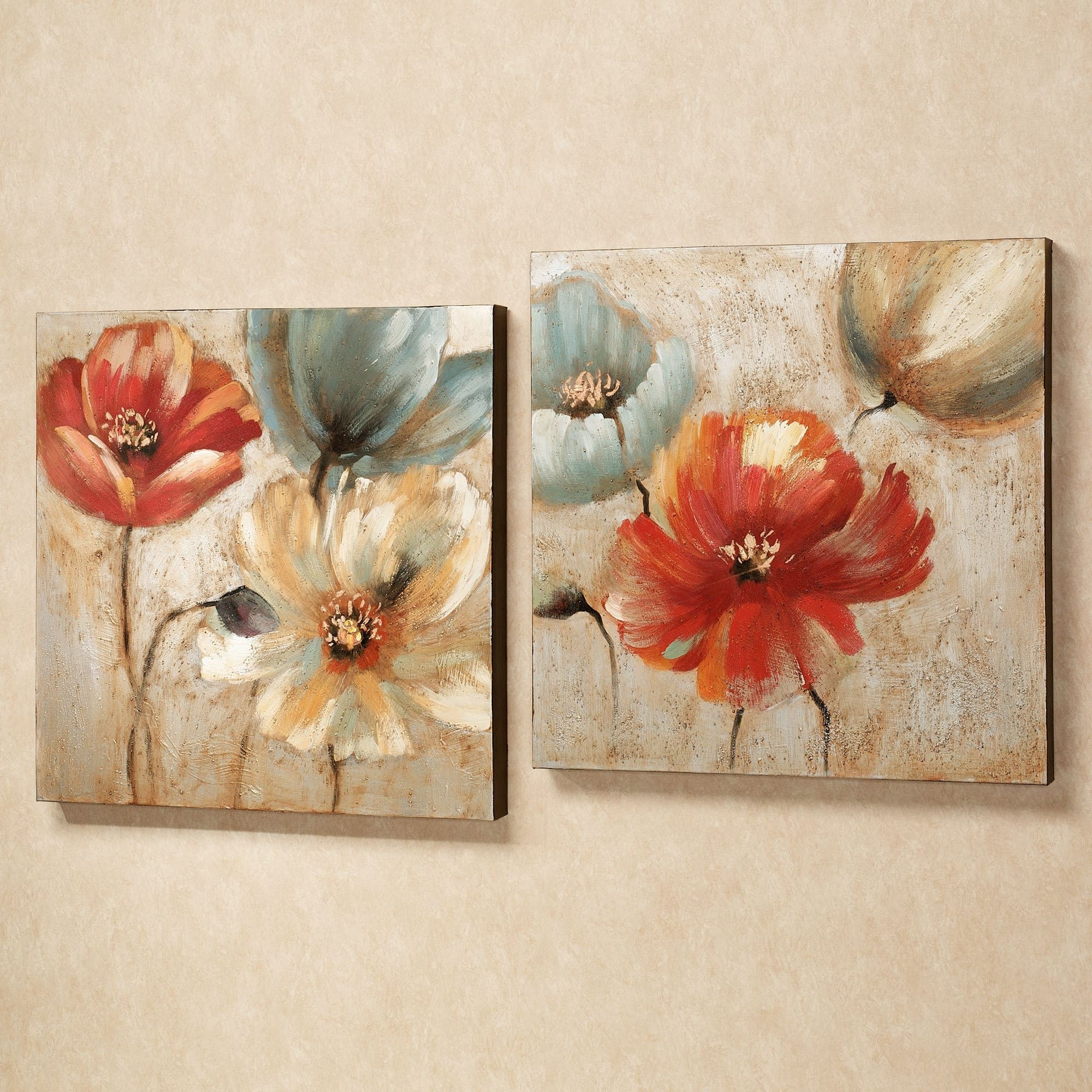 Well Liked Canvas Wall Art Of Flowers In Joyful Garden Floral Canvas Wall Art Set (View 15 of 15)