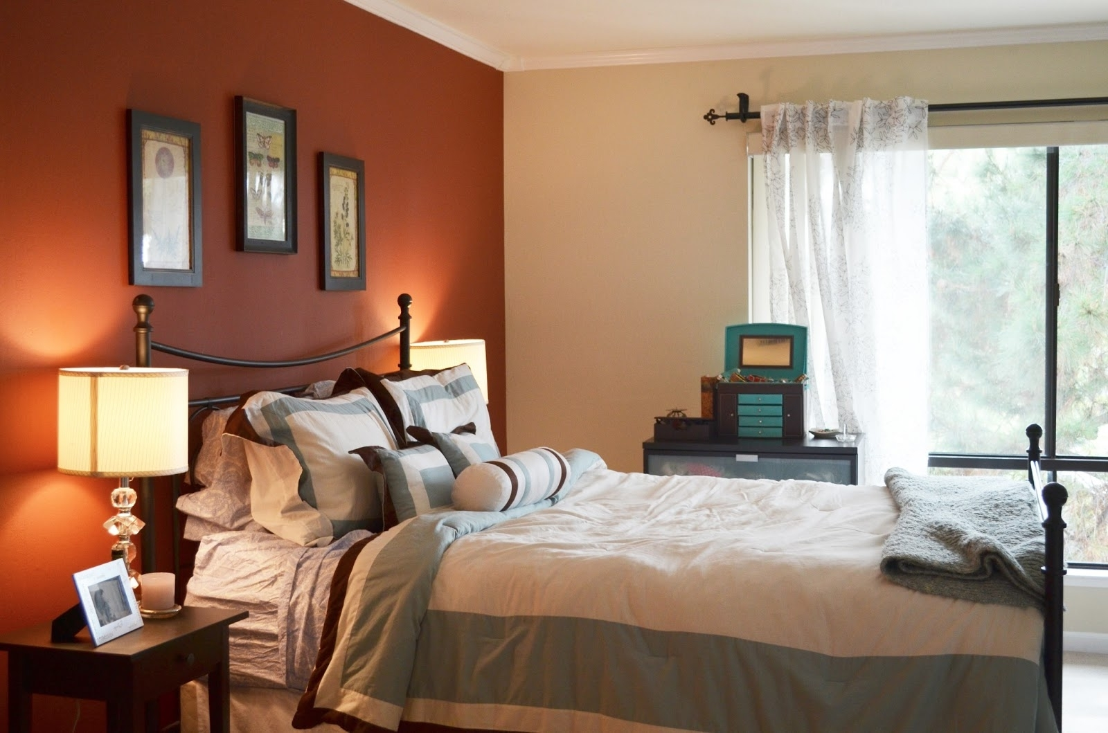Well Liked Charming Bedroom Design With Orange Accents Wall Painted And With Regard To Wall Accents With Paint (View 15 of 15)