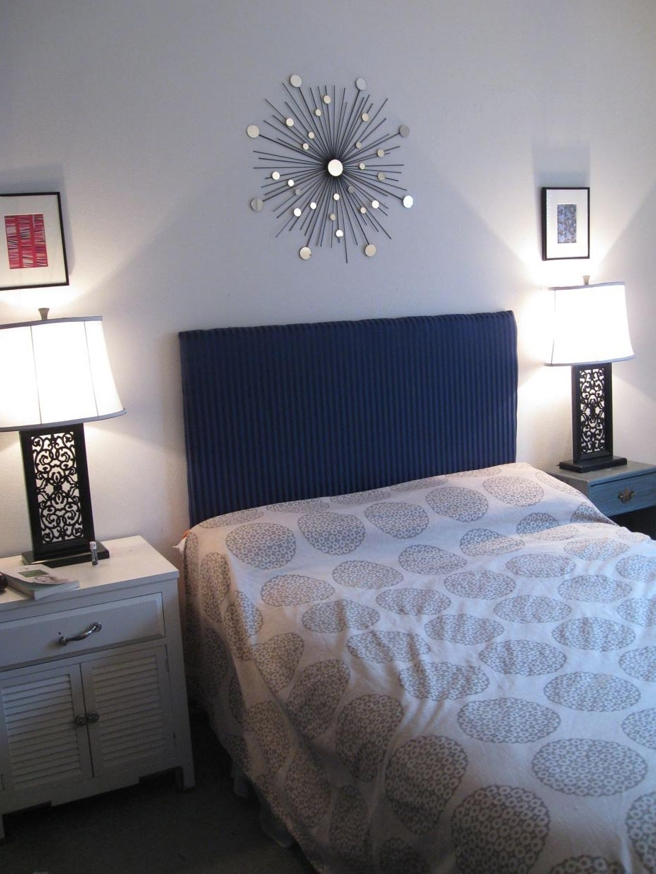 Well Liked Fabric Wall Art Above Bed Pertaining To Bedroom: Attractive Picture Of Slate Blue Bedroom Decoration Using (View 14 of 15)