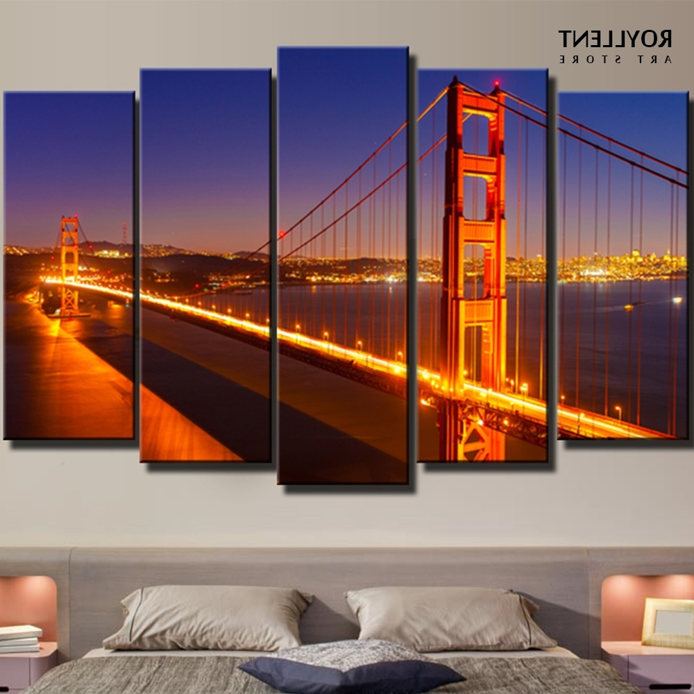 Well Liked Golden Gate Bridge Canvas Wall Art In Modern Panels New York Cityscape Golden Gate Bridge Paintings (View 2 of 15)