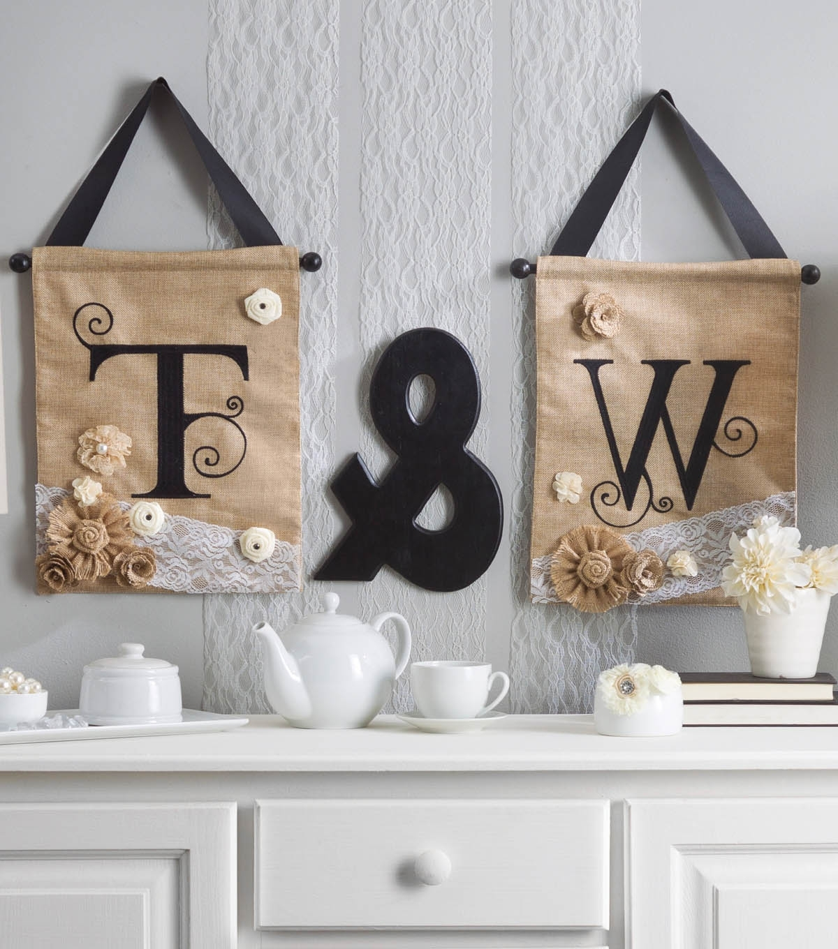 Well Liked Joann Fabric Wall Art Throughout Embellished Initial Letters On Burlap Wall Hangings (View 15 of 15)