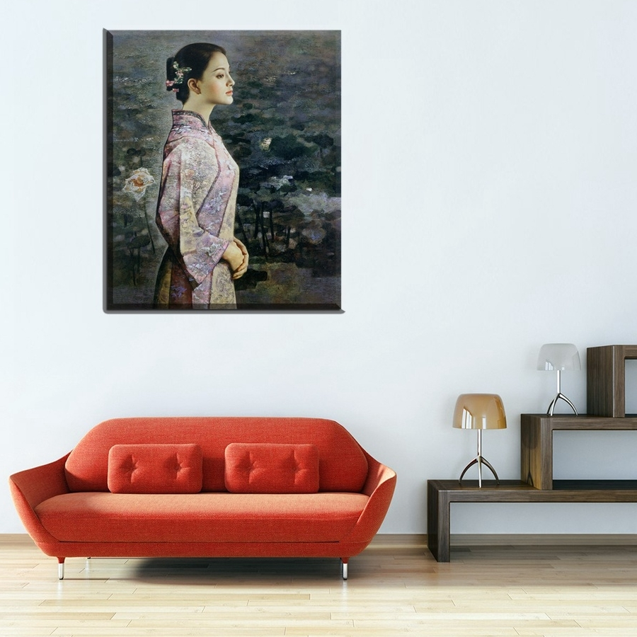 Well Liked Portrait Canvas Wall Art Within Classic Oriental Beauty The Lotus Pond Portrait Oil Painting (View 14 of 15)