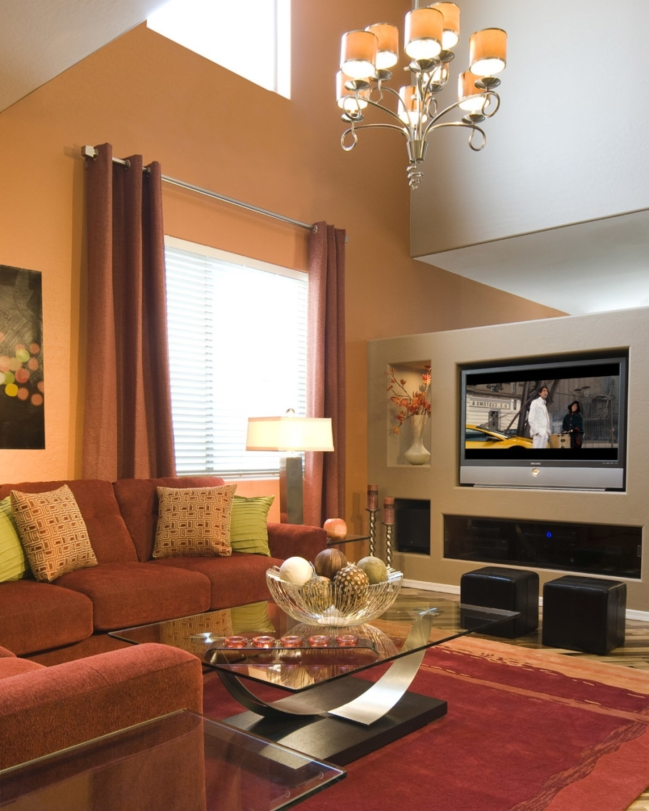 Well Liked Pretty Living Room With Beige Accents Wall Feat Brown Sectional Within Wall Accents With Tv (View 15 of 15)