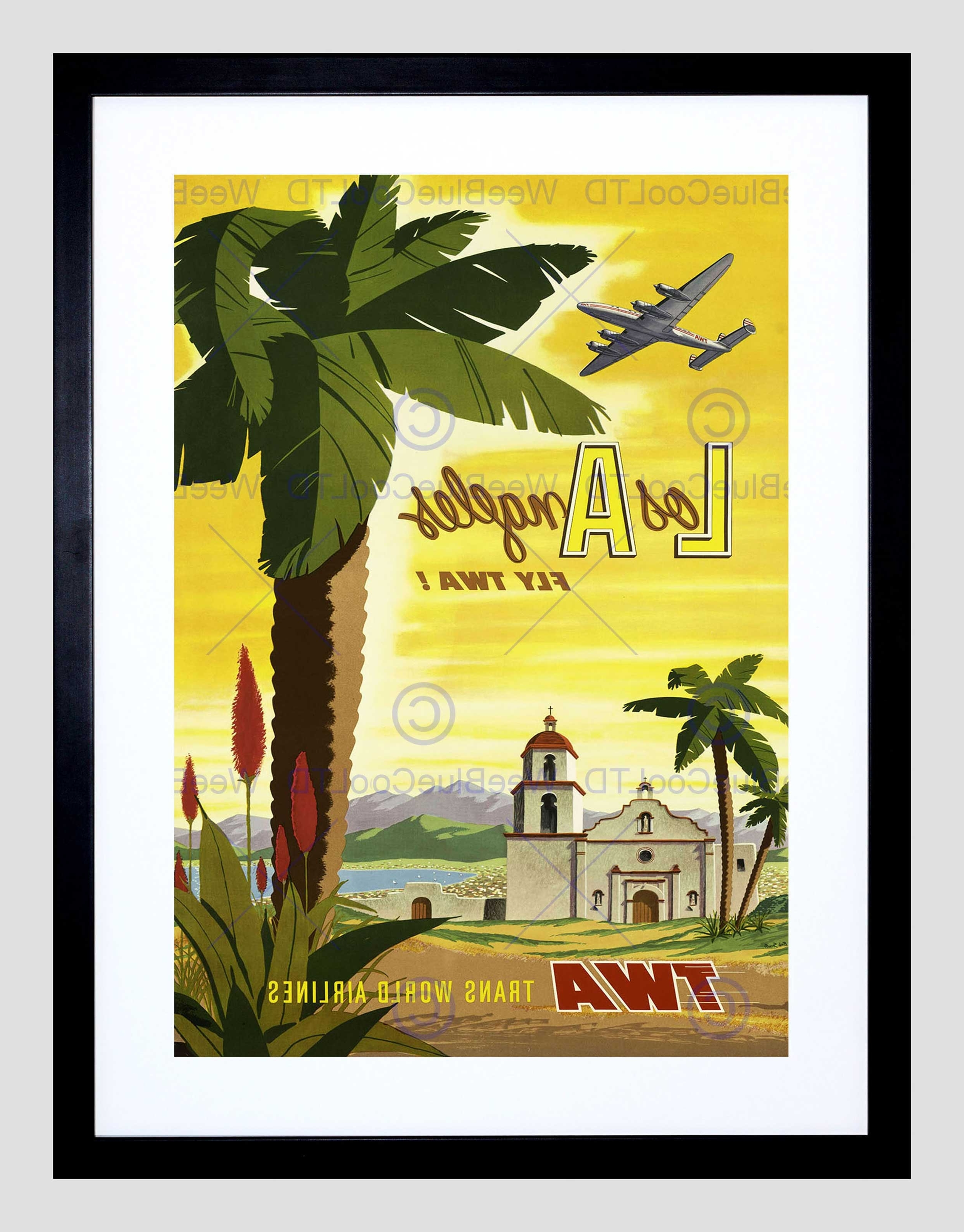 Well Liked Travel Twa Airline Los Angeles California Palm Vintage Framed Art Throughout Los Angeles Framed Art Prints (View 14 of 15)