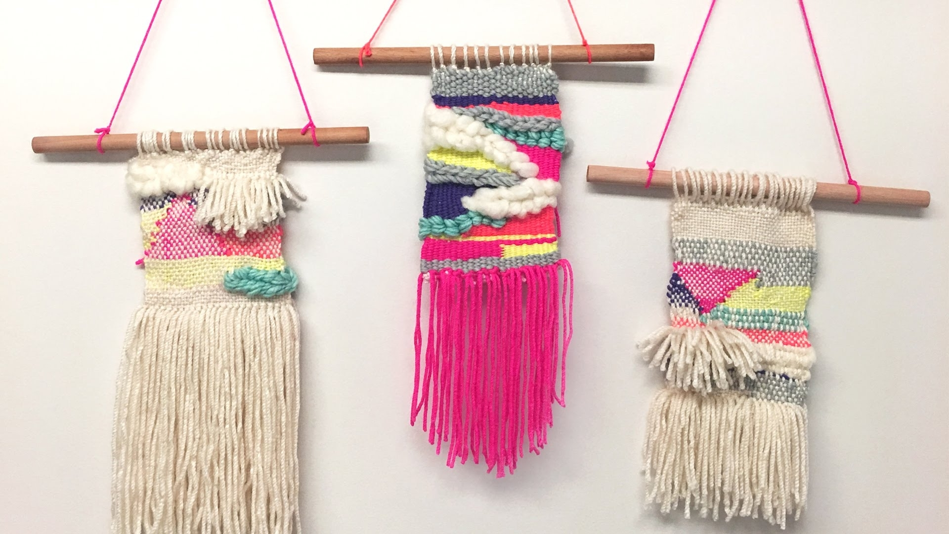 Whatdaymade Diy: Tissage Woven Wall Hagging – Youtube With 2018 Diy Textile Wall Art (View 15 of 15)