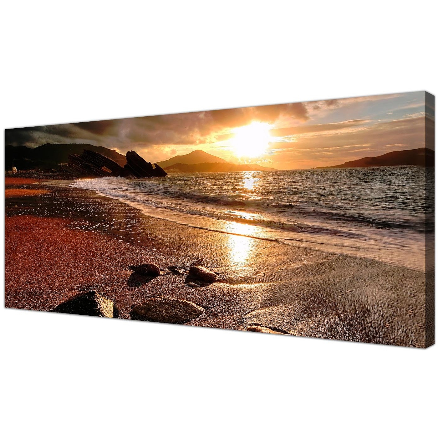 Wide Canvas Prints Of A Beach Sunset For Your Living Room Inside Most Recent Landscape Canvas Wall Art (View 14 of 15)