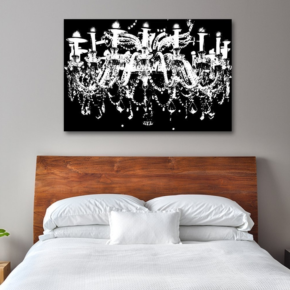 Widely Used Amazon: Black & White Chandelier Wall Decoration Art Pertaining To Chandelier Canvas Wall Art (View 14 of 15)