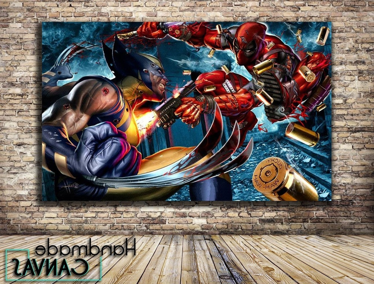 Widely Used Amazon: Deadpool Vs Wolverine Comic Book Box Framed Canvas Art Inside Framed Comic Art Prints (View 15 of 15)