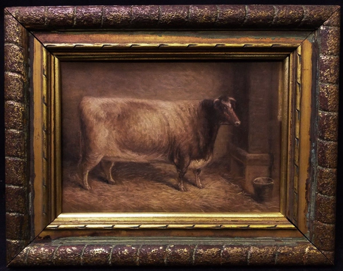 "Widely Used Antique American Folk Art Animals Oil Painting ""cow Portrait In American Folk Art Framed Prints (View 14 of 15)"