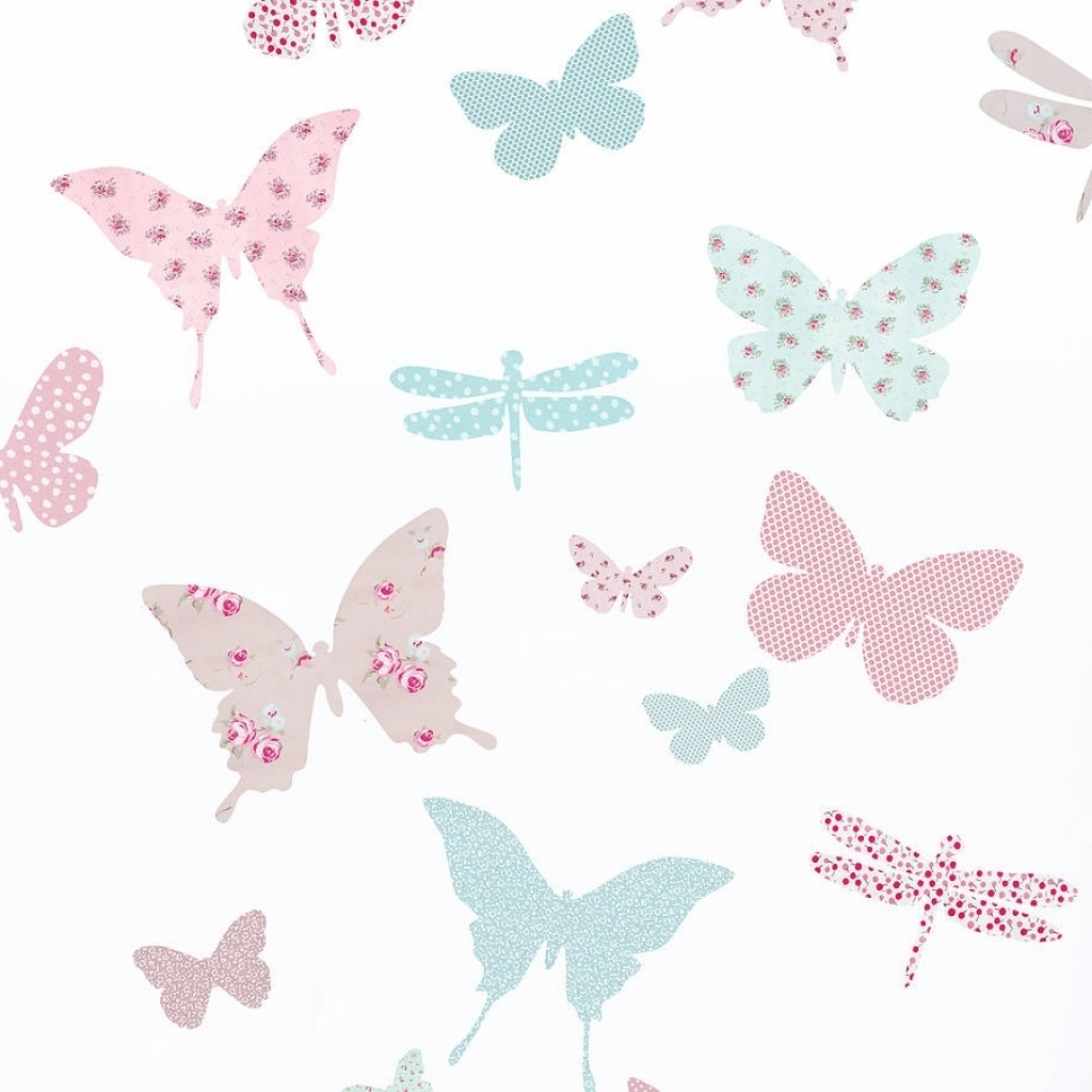 Widely Used Childrens Butterfly Fabric Wall Stickers Koko Kids In Vintage For Fabric Butterfly Wall Art (View 6 of 15)