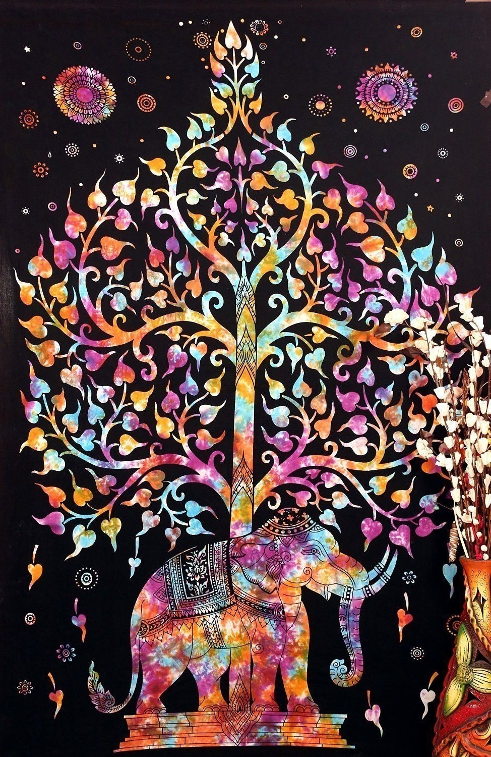 Widely Used Elephant Fabric Wall Art Intended For Elephant Kayso Tree Of Life Bohemian Tapestry Psychedelic Wall (View 15 of 15)