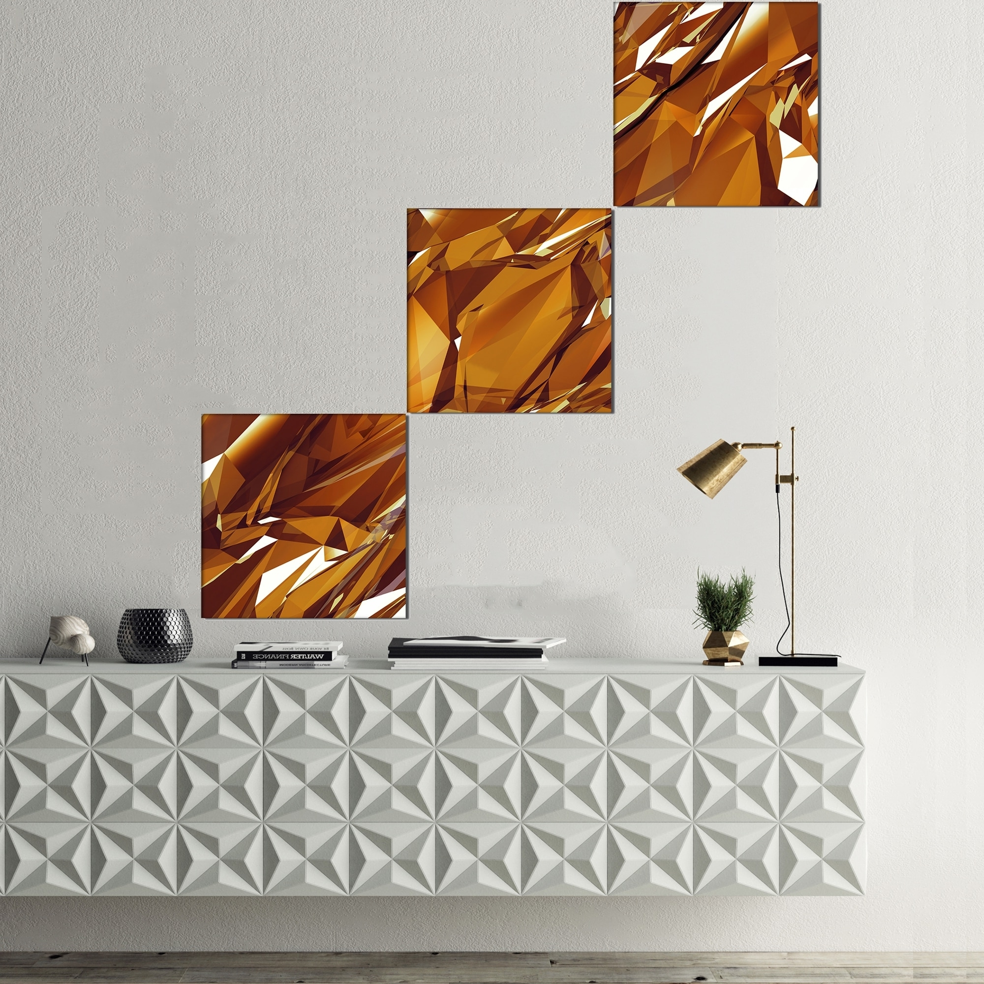 Widely Used Gold Canvas Wall Art Within Designart '3D Gold Crystal Background' Abstract Canvas Wall Art (View 15 of 15)