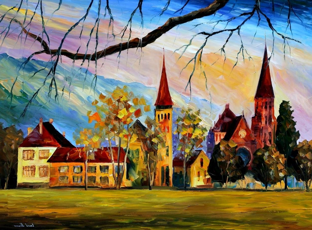 Widely Used Interlaken, Switzerland — Palette Knife Oil Painting On Canvas With Regard To Landscape Canvas Wall Art (View 15 of 15)