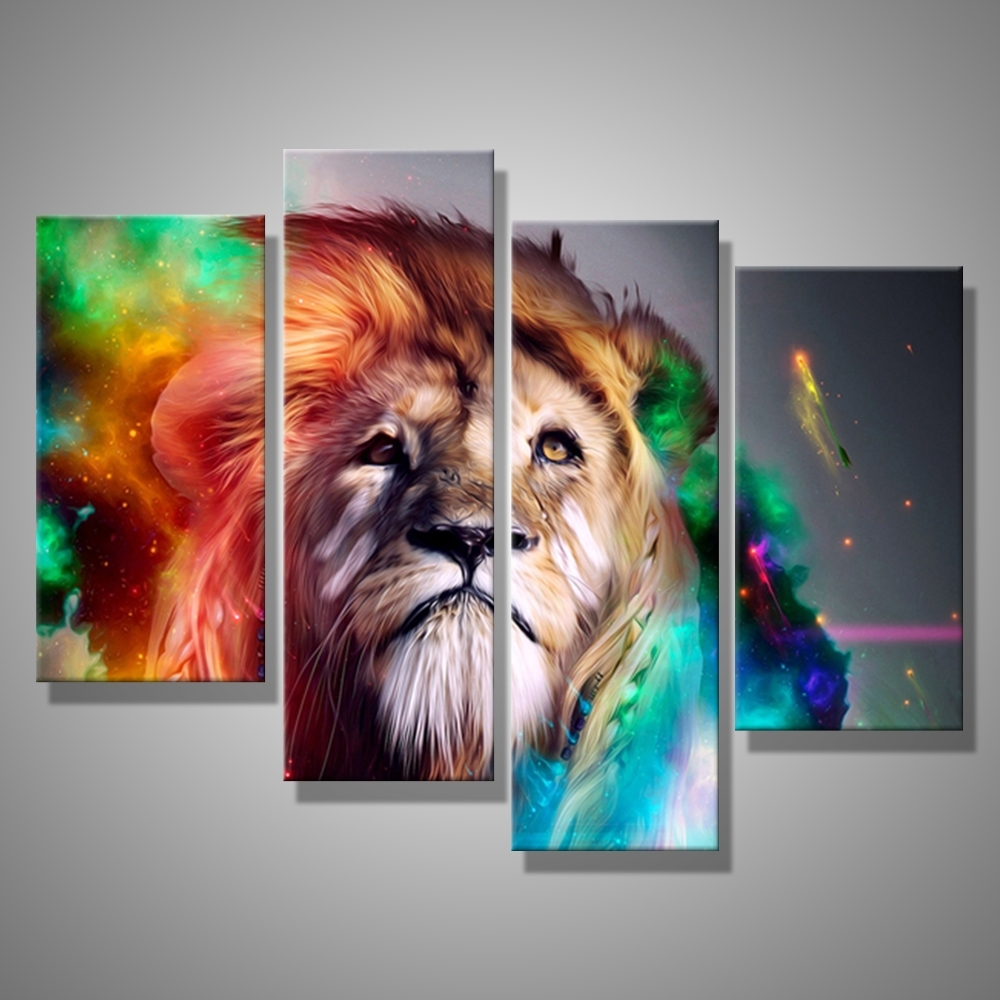 Widely Used Lion King Canvas Wall Art With Oil Painting Canvas Abstract Animal Lion King Wall Art Home Decor (View 15 of 15)