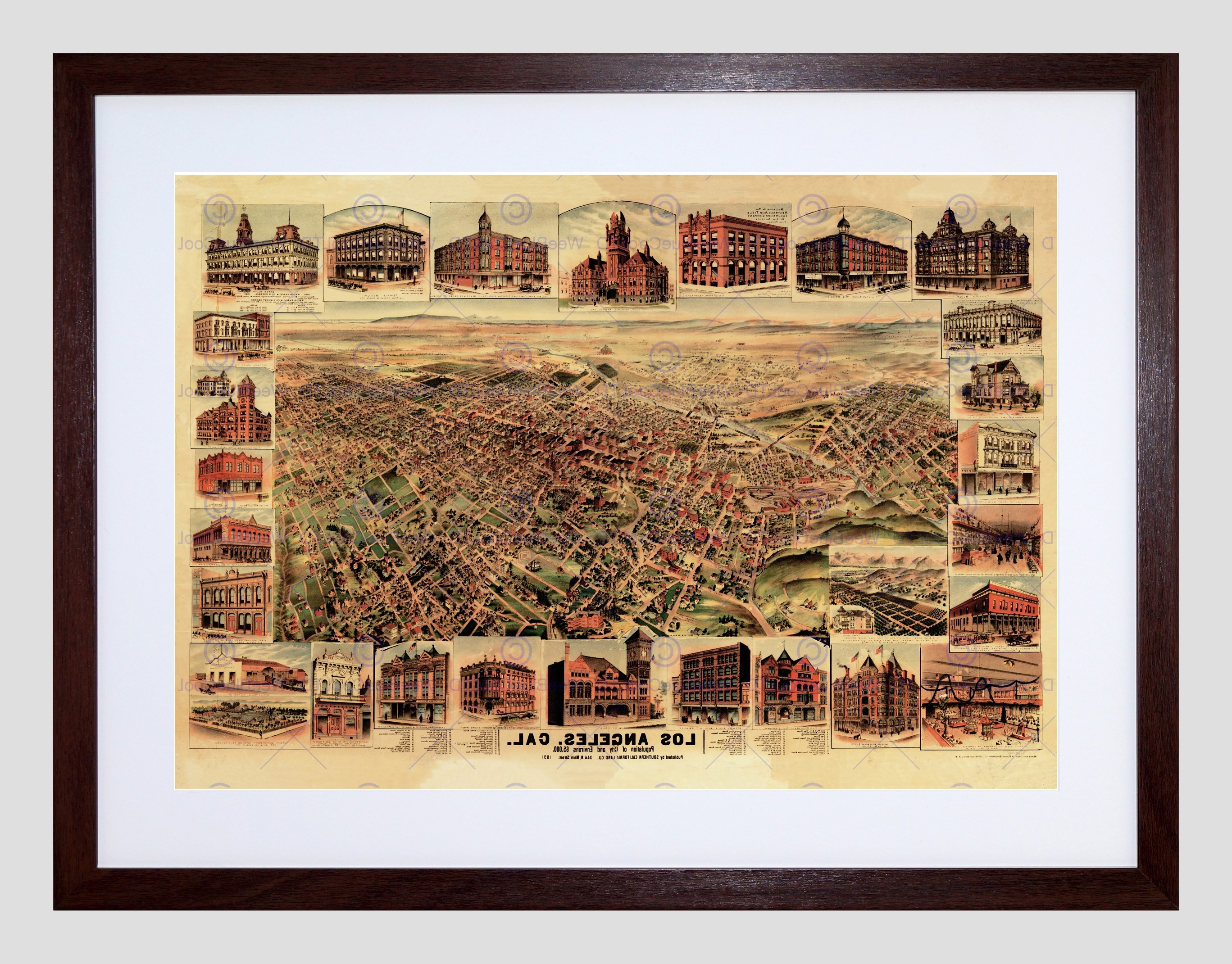 Widely Used Los Angeles Framed Art Prints In Map Los Angeles California 1891 Framed Art Print Poster F12x (View 14 of 15)