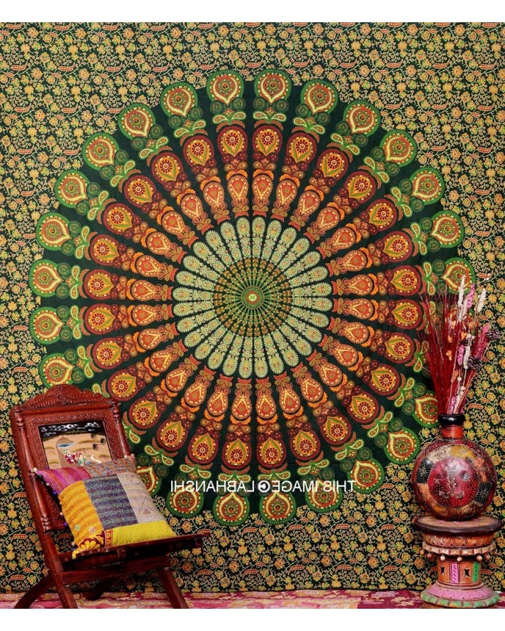 Widely Used Mandala Bedspread Hippie Wall Hanging Indian Tapestry Psychedelic For Indian Fabric Wall Art (View 5 of 15)