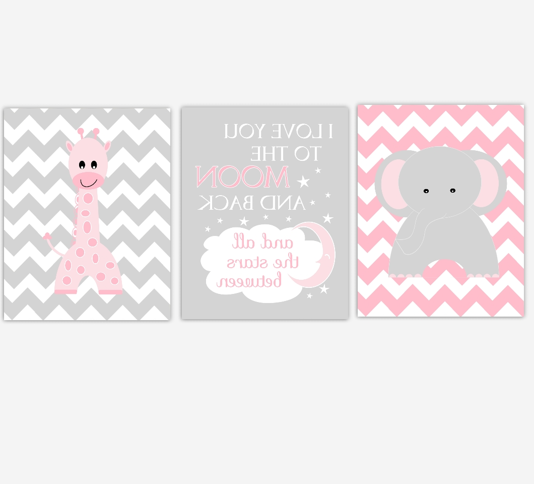 Widely Used Nursery Canvas Wall Art Inside Baby Girls Nursery Canvas Wall Art Pink Gray Grey I Love You To (View 15 of 15)