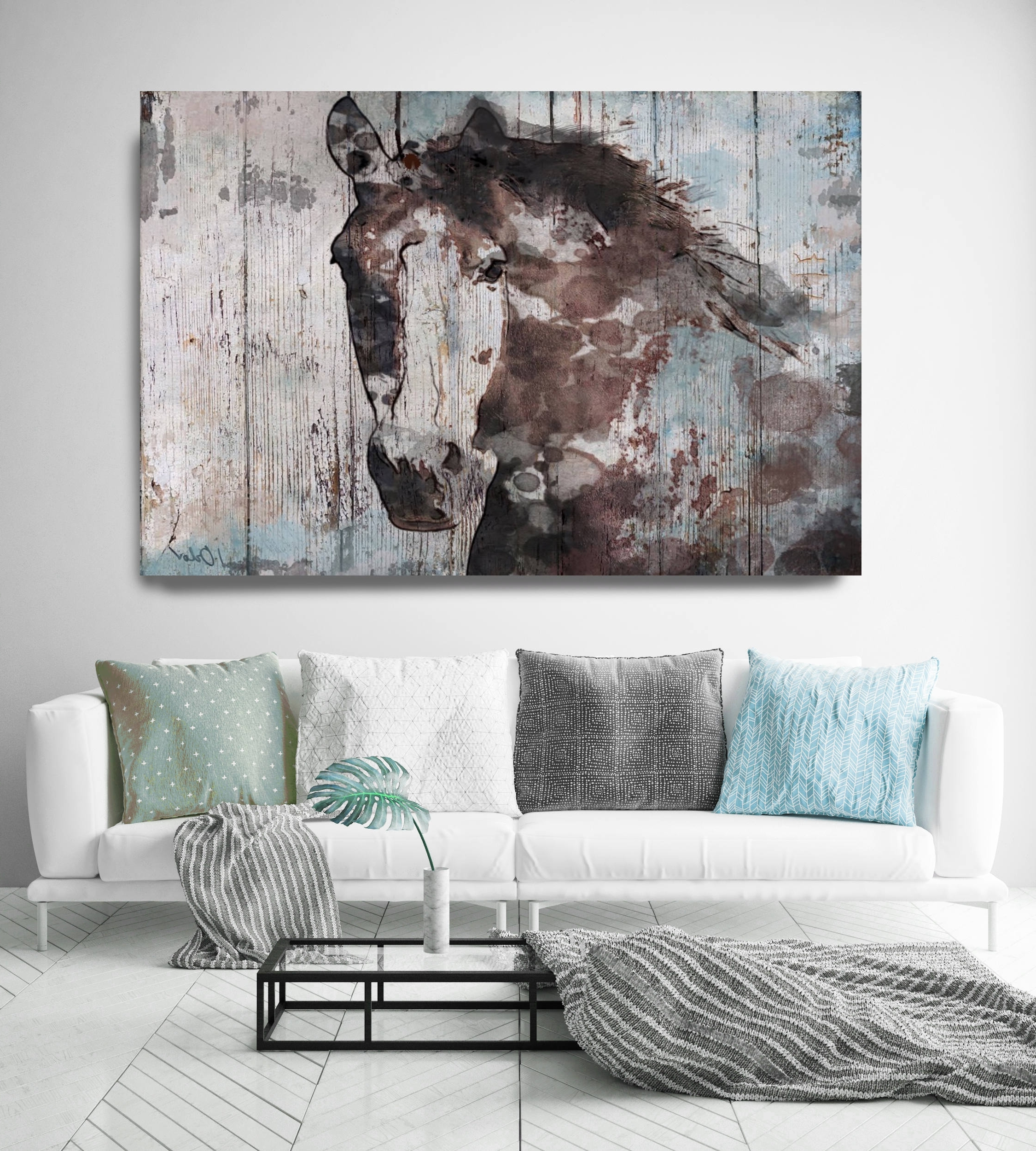 Widely Used Rustic Canvas Wall Art For Wild Blue Horse (View 5 of 15)