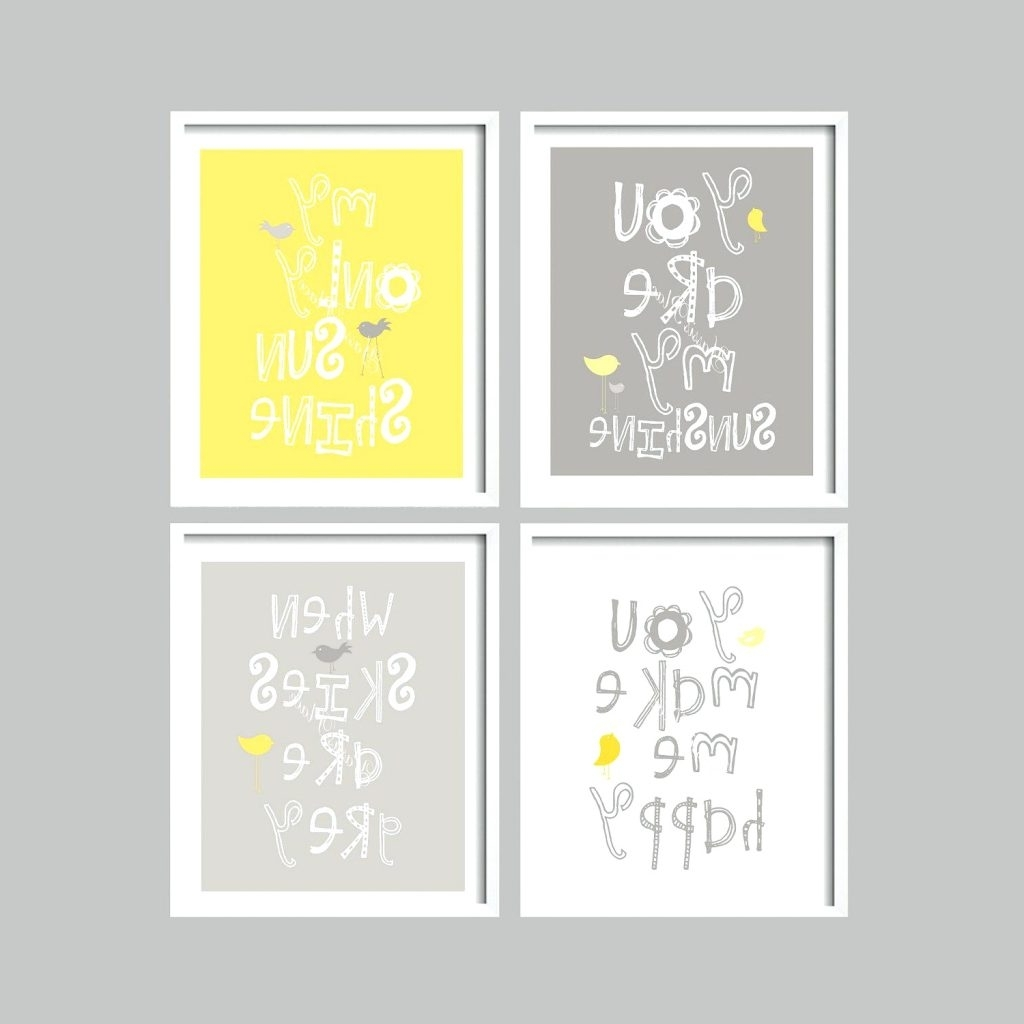 Widely Used Wall Arts ~ Yellow And Gray Art Prints You Are My Sunshine Nursery Regarding Personalized Nursery Canvas Wall Art (View 15 of 15)