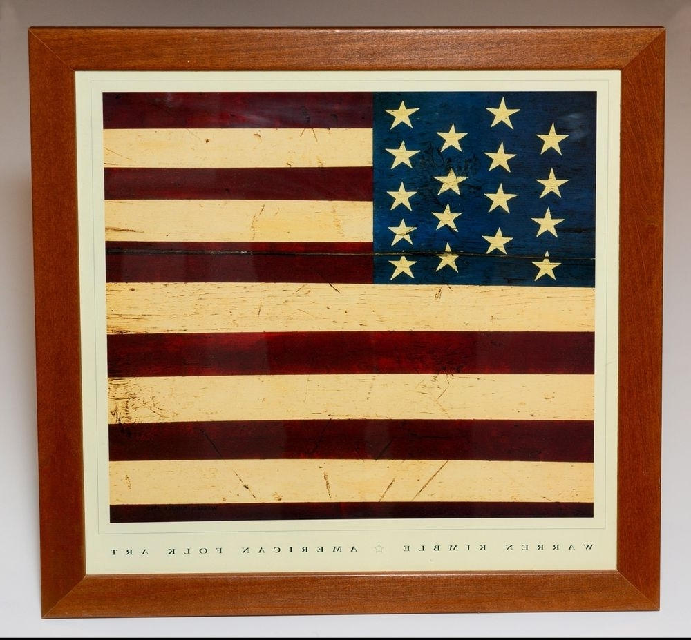 Widely Used Warren Kimble American Folk Art Colonial Flag Framed Print 17 Intended For American Folk Art Framed Prints (Gallery 1 of 15)