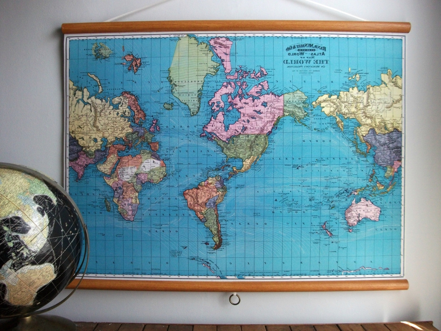 World Map 1897 / Vintage Pull Down Reproduction / Canvas Fabric Or Pertaining To Well Known Vintage Fabric Wall Art (View 15 of 15)