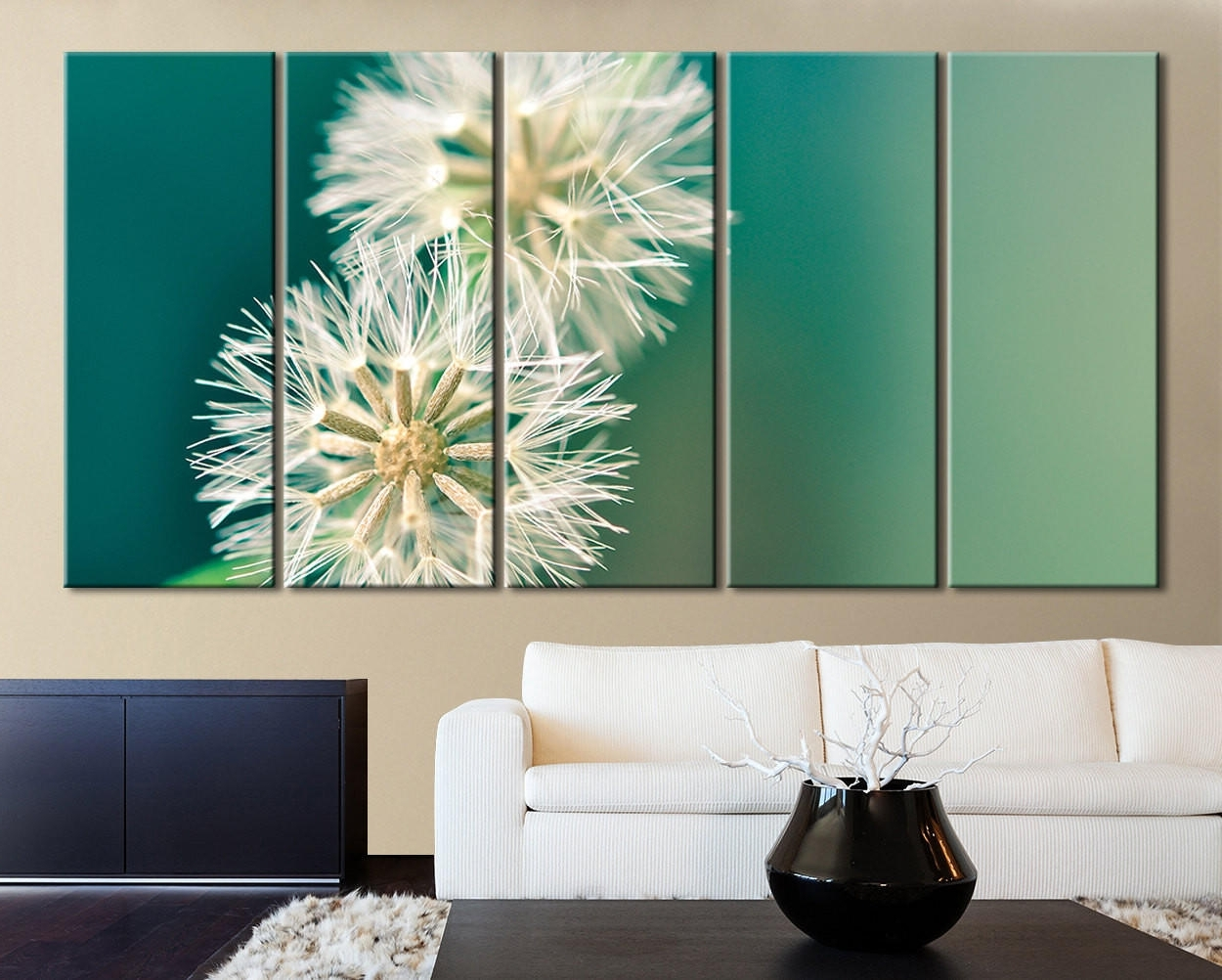 Xxl 5 Panel Wall Art Canvas Print From Mycanvasprint With Regard To Well  Known Dandelion Canvas
