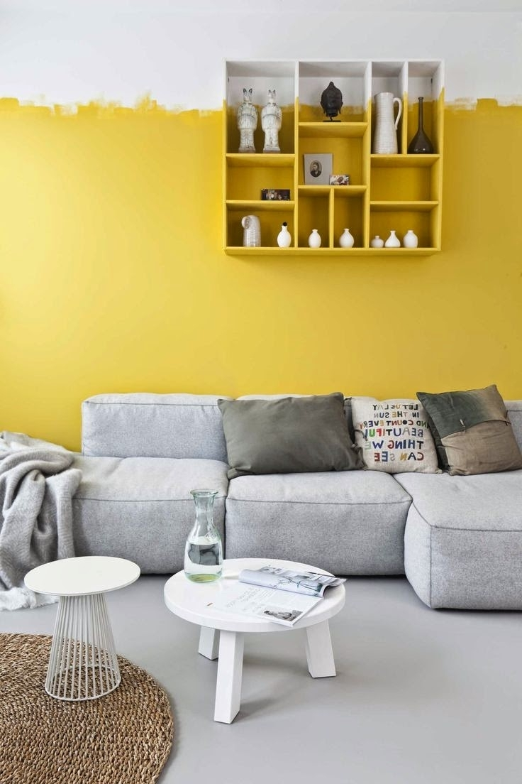 Yellow Accent Walls, Gray Floor And Yellow (Gallery 4 of 15)